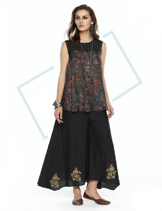 Black green festive wear cotton palazzo suit