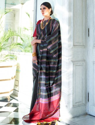 Black handloom silk saree in festive