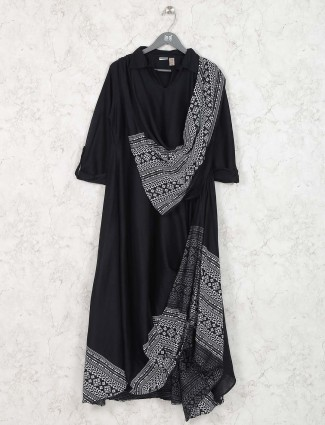 Black hue cotton festive kurti