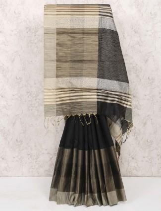 Black hue cotton silk fabric festive wear saree