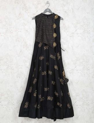 Black hue cotton silk long kurti