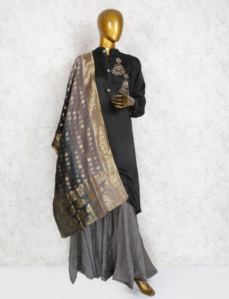 Black hue cotton silk sharara suit