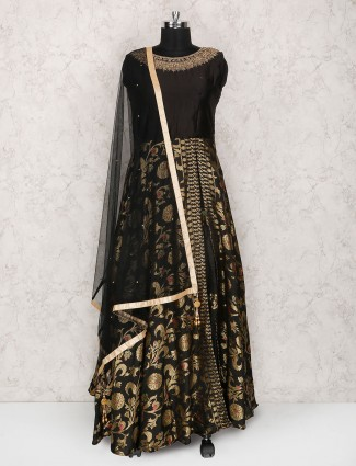 Black hue floor length anarkali suit