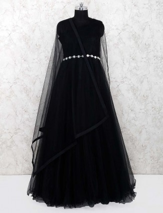Black hue net party lovely gown