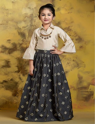 Black hue party raw silk indo western lehenga choli