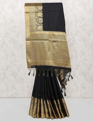 Black hue party saree in cotton silk