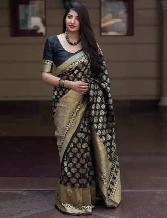 Black hue saree in banarasi silk