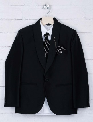 Black hue terry rayon fabric party coat suit