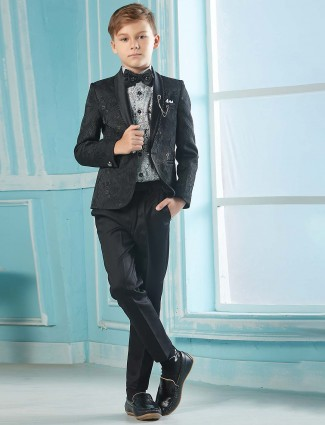 Black hue terry rayon party wear tuxedo suit