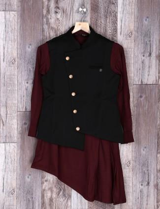 Black hue terry rayon party wear waistcoat set