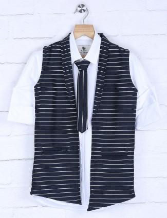 Black hued stripe boys waistcoat shirt