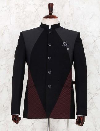 Black hued terry rayon fabric jodhpuri suit
