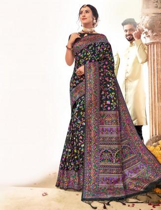 Black indian banarasi silk saree