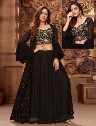 Black jecket style lehenga suit in georgette