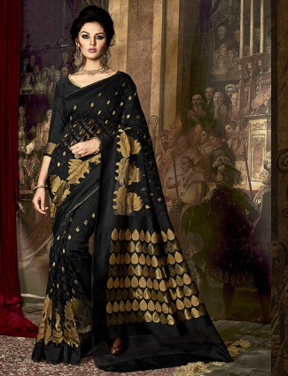 Black kamakshi silk festive saree