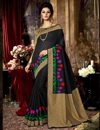 Black kamakshi silk saree