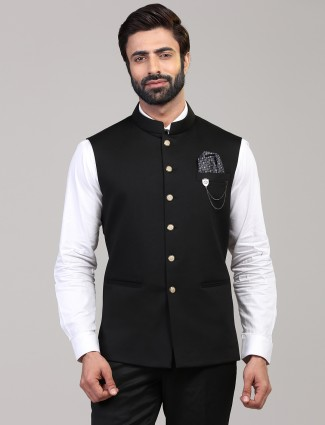 Black knitted waistcoat for mens