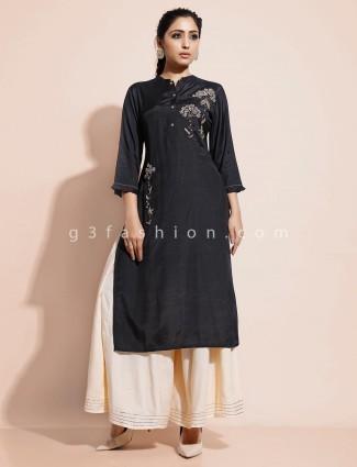 Black kurti with palazzo in cotton
