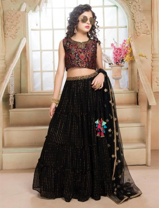 Black lehenga choli in georgette for girls