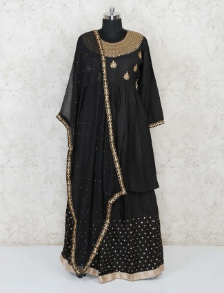 Black lehenga style salwar suit in cotton silk