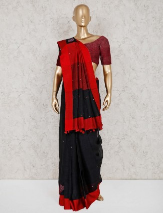 Black linen saree in festive