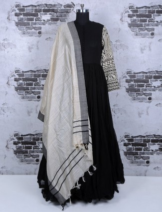 Black long anarkali suit in silk fabric