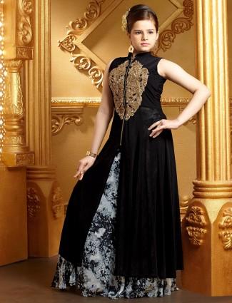 Black lycra designer lehenga cum salwar suit