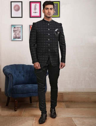 Black mens designer jodhpuri suit