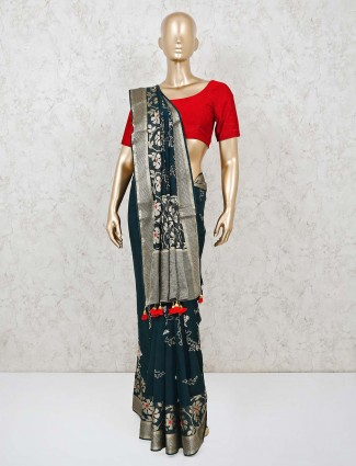 Black muga silk saree for wedding