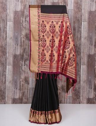 Black party wear bangalore nano silk saree