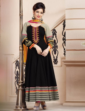 Black party wear cotton silk ready made anarkali suit