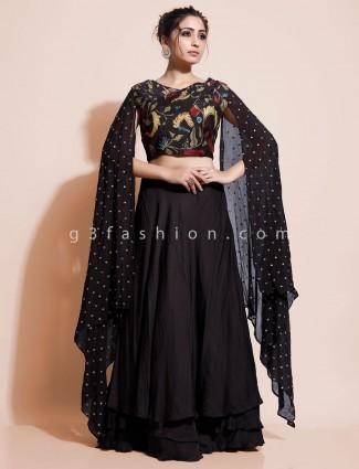 Black party wear georgette indo western salwar suit online