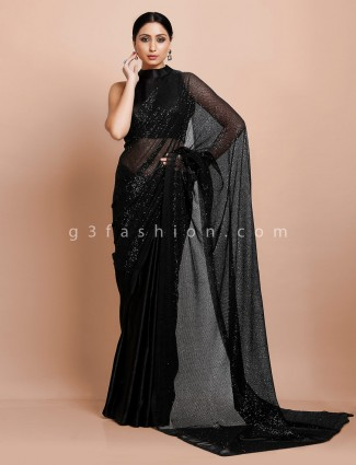 Black party wear net satin half and half ready made blouse saree