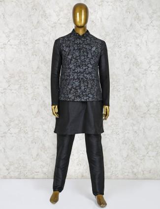 Black party wear printed waistcoat set