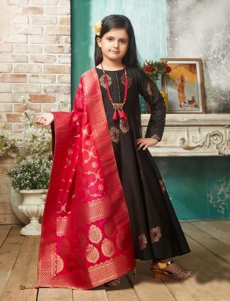 Black party wear raw silk fabric anarkali suit