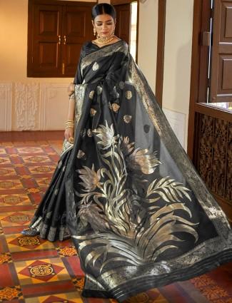 Black party wear semi silk sari