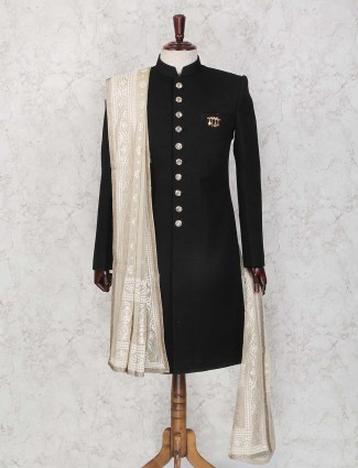 Black party wear terry rayon mens indo western