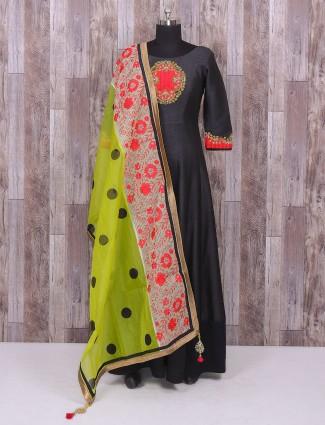 Black party wear wonderful silk anarkali suit