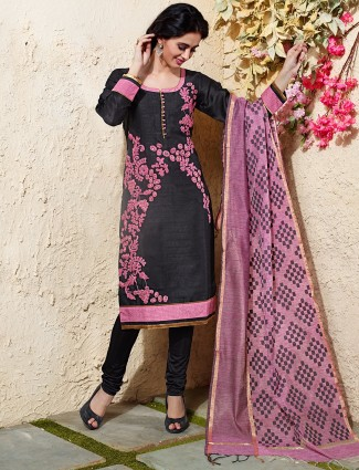 Black pink chanderi silk salwar suit