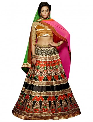 Black printed benglori silk party wear ready made lehenga choli