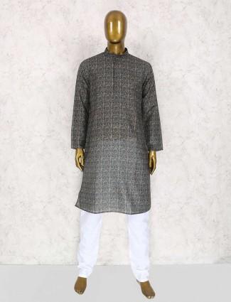 Black printed cotton kurta suit for mens