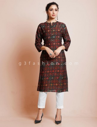 Black printed cotton kurti for festive