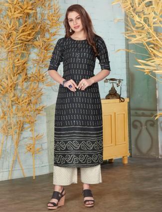 Black printed cotton punjabi palazzo suit