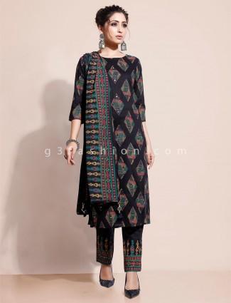 Black printed cotton salwar kameez set for festival