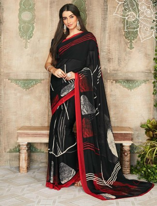 Black printed georgette saree