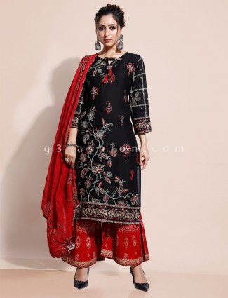 Black printed kurti and palazzo set in cotton