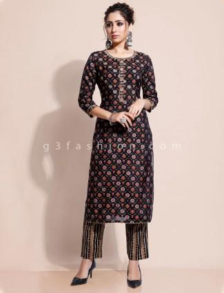 Black printed kurti and pant set in cotton