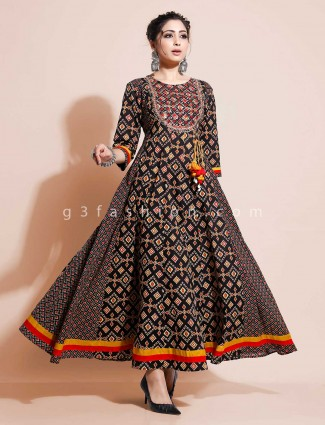 Black printed kurti design in cotton