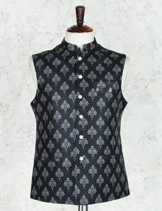 Black printed party wear cotton silk waistcoat