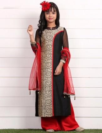 Black printed party wear raw silk salwar suit